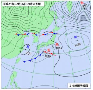 2月6日(水)9時の予想天気図
