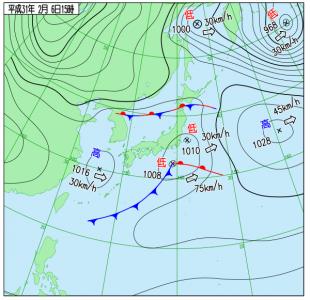 2月6日(水)15時の実況天気図