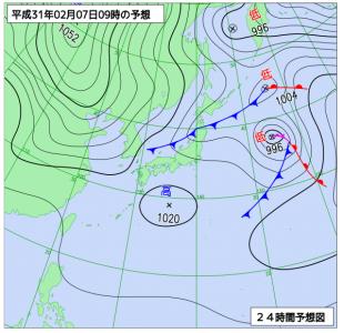 2月7日(木)9時の予想天気図