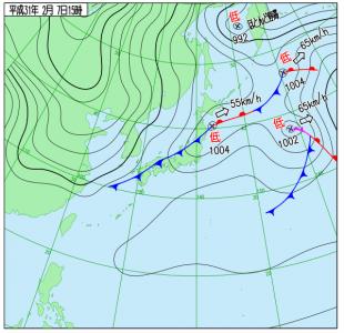 2月7日(木)15時の実況天気図