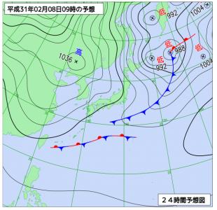 2月8日(金)9時の予想天気図