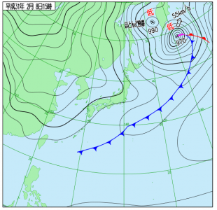 2月8日(金)15時の実況天気図