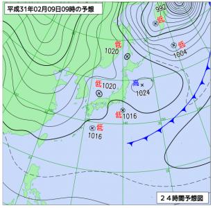 2月9日(土)9時の予想天気図