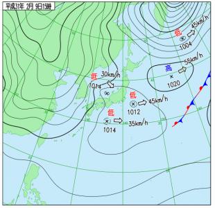 2月9日(土)15時の実況天気図
