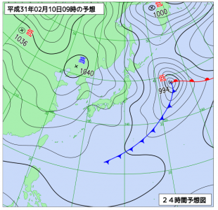 2月10日(日)9時の予想天気図