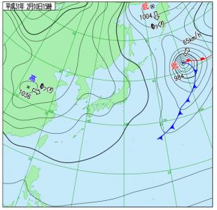 2月10日(日)15時の実況天気図