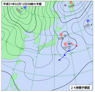 2月12日(火)9時の予想天気図