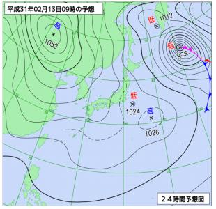 2月13日(水)9時の予想天気図