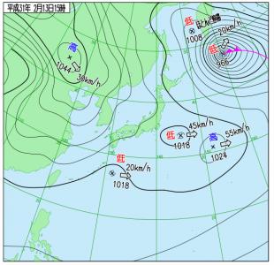 2月13日(水)15時の実況天気図
