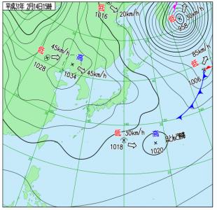 2月14日(木)15時の実況天気図