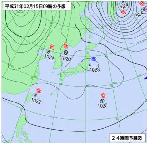 2月15日(金)9時の予想天気図