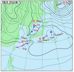 2月15日(金)15時の実況天気図
