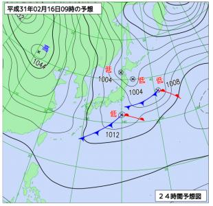 2月16日(土)9時の予想天気図