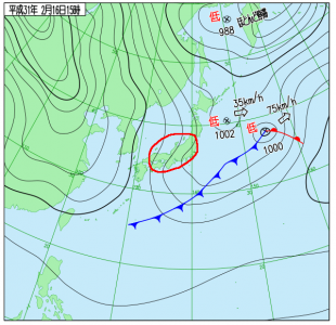 2月16日(土)15時の実況天気図