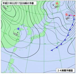 2月17日(日)9時の予想天気図