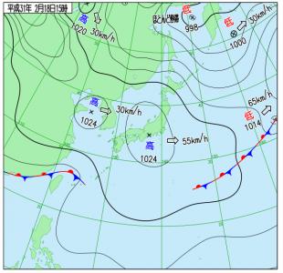 2月18日(月)15時の実況天気図
