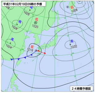 2月19日(火)9時の予想天気図