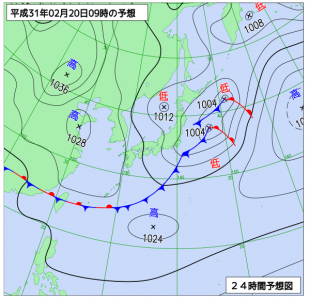 2月20日(水)9時の予想天気図