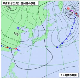 2月21日(木)9時の予想天気図