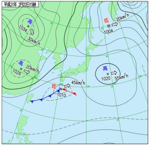 2月22日(金)15時の実況天気図
