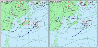 2月23日(土)12時と15時の実況天気図