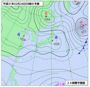 2月24日(日)9時の予想天気図