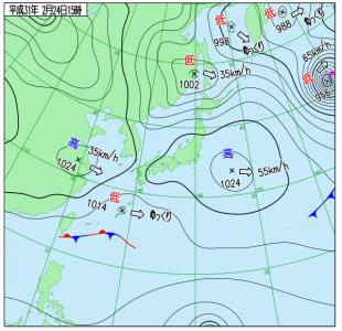2月24日(日)15時の実況天気図