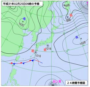 2月25日(月)9時の予想天気図
