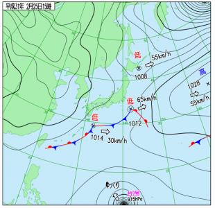 2月25日(月)15時の実況天気図