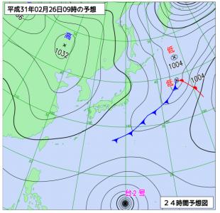 2月26日(火)9時の予想天気図
