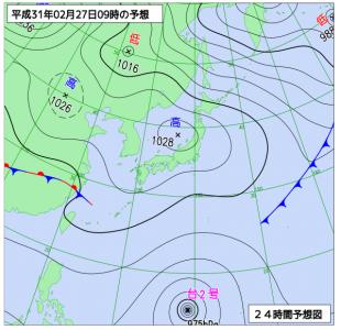 2月27日(水)9時の予想天気図