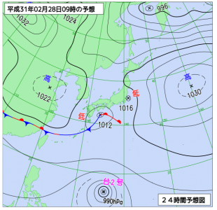 2月28日(木)9時の予想天気図