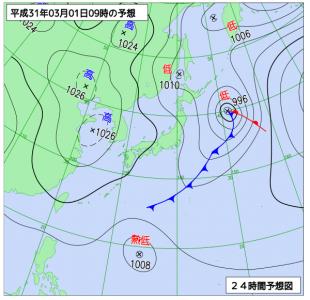 3月1日(金)9時の予想天気図