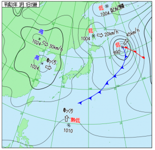 3月1日(金)15時の実況天気図