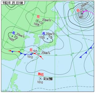 3月2日(土)15時の実況天気図