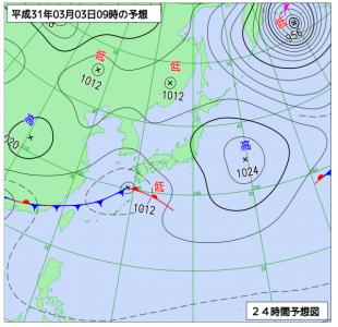 3月3日(日)9時の予想天気図