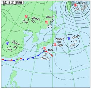 3月3日(日)15時の実況天気図