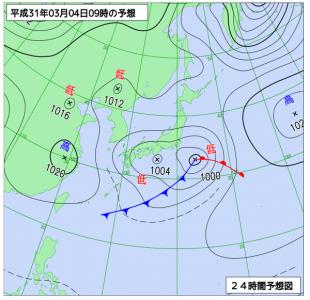 3月4日(月)9時の予想天気図