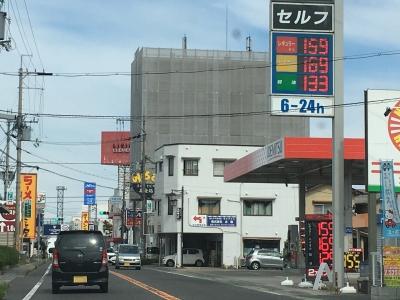 レギュラーガソリン159円/L 西近江路沿い大津市堅田のセルフGSで(18/10/18)
