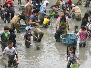 子供ら100人が玉網を手に格闘