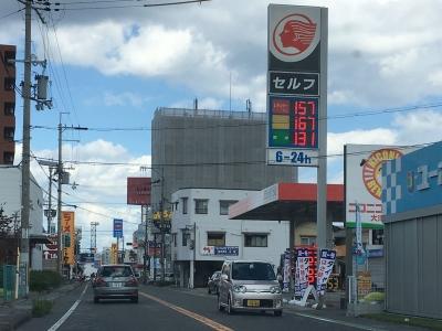 レギュラーガソリン157円/L 西近江路沿い大津市堅田のセルフGSで(18/10/30)