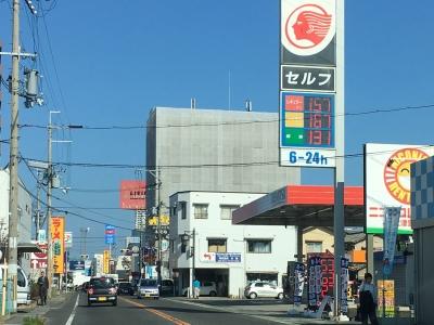 レギュラーガソリン157円/L 西近江路沿い大津市堅田のセルフGSで(18/11/08)