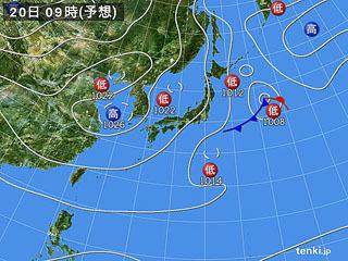 11月20日(火)9時の予想天気図