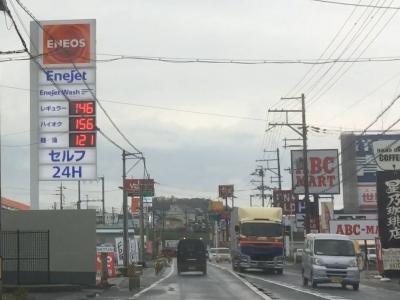 レギュラーガソリン146円/L 西近江路沿い大津市真野のセルフGSで(18/12/06)