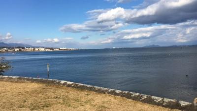 唐崎神社境内から眺めた琵琶湖南湖(12月17日14時頃)