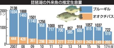琵琶湖のブルーギルとバスの推定生息量