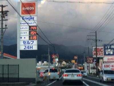 レギュラーガソリン144円/L 西近江路沿い大津市真野のセルフGSで(18/12/27)