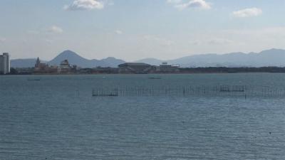 琵琶湖大橋西詰めから眺めた南湖(1月19日12時10分頃)