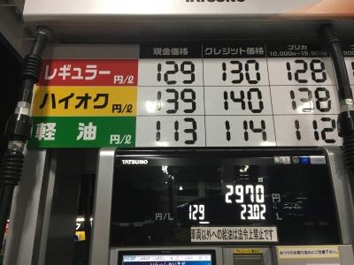 レギュラーガソリン129円/L 国道42号沿い三重県熊野市のセルフGSで(19/01/03)