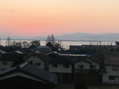 今朝の琵琶湖南湖は落ちナギの穏やかないい天気(2月3日6時45分頃)
